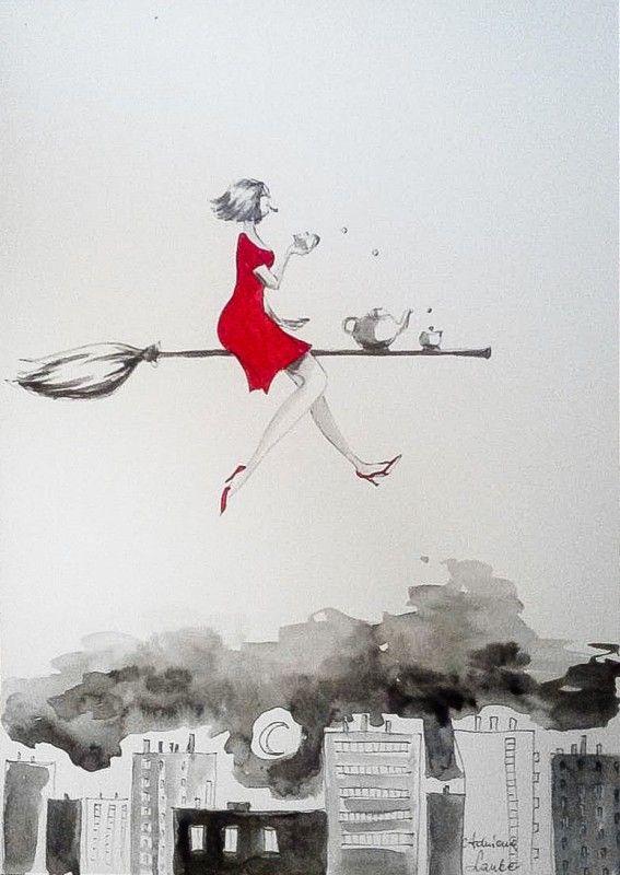 """""""WYLUZOWANA WIEDŹMA"""" praca wykonana akwarelą i piórkiem przez artystkę plastyka Adrianę Laube na papierze A3. Praca sygnowana."""