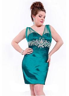 Stunning Taffeta & Tulle V-neck Short Sheath Plus Size Cocktail Dress