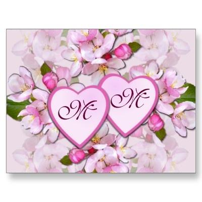 APPLE BLOSSOM & HEARTS ~ Postcard
