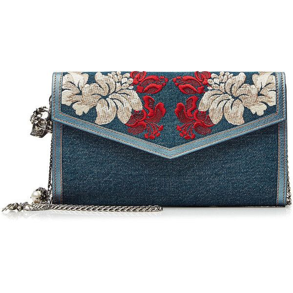 Alexander McQueen Embroidered Denim Shoulder Bag ($1,370) ❤ liked on Polyvore featuring bags, handbags, shoulder bags, blue, colorful handbags, colorful purses, blue shoulder bag, denim purse and denim handbags