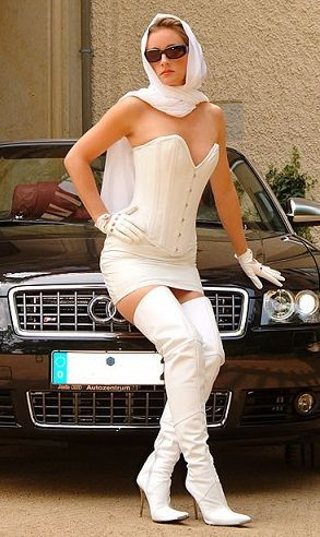 White thigh boots leather skirt bustier gloves