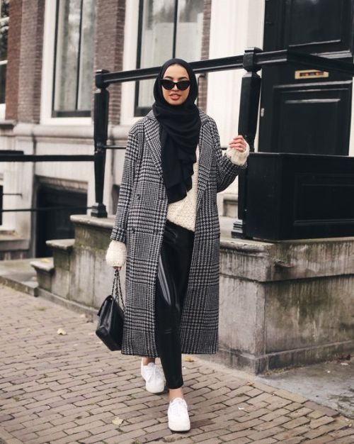 grey checked coat hijab-Furry sleeves sweaters with hijab – Just Trendy Girls
