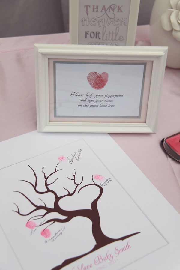 Baby Shower Sign In Book Ideas ~ Guests are asked to please quot leaf their fingerprint and
