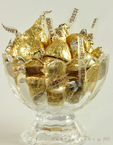 Metallic Kisses For Table Settings Golden Anniversary PartiesAnniversary Ideas50th Wedding DecorationsCandy Centerpieces