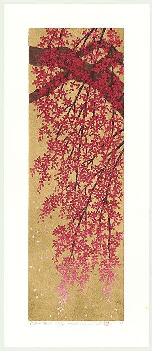 Original Hajime Namiki (1947 - ) Japanese Woodblock Print Weeping Cherry 10, 2009