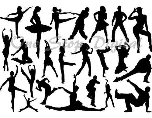 Instant Download Digital Dancers Silhouettes Ballet Dancer Clip Art Ballerina Silhouettes Break Dancing Silhouettes Dancer Clipart 0277