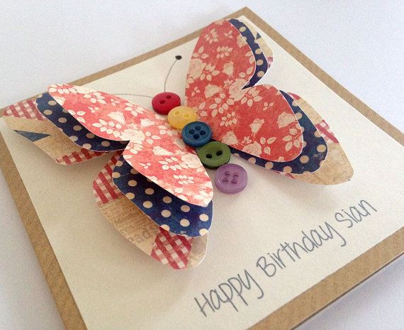 Friend Birthday Card  3D Butterfly Card  Sister by LottieandLois