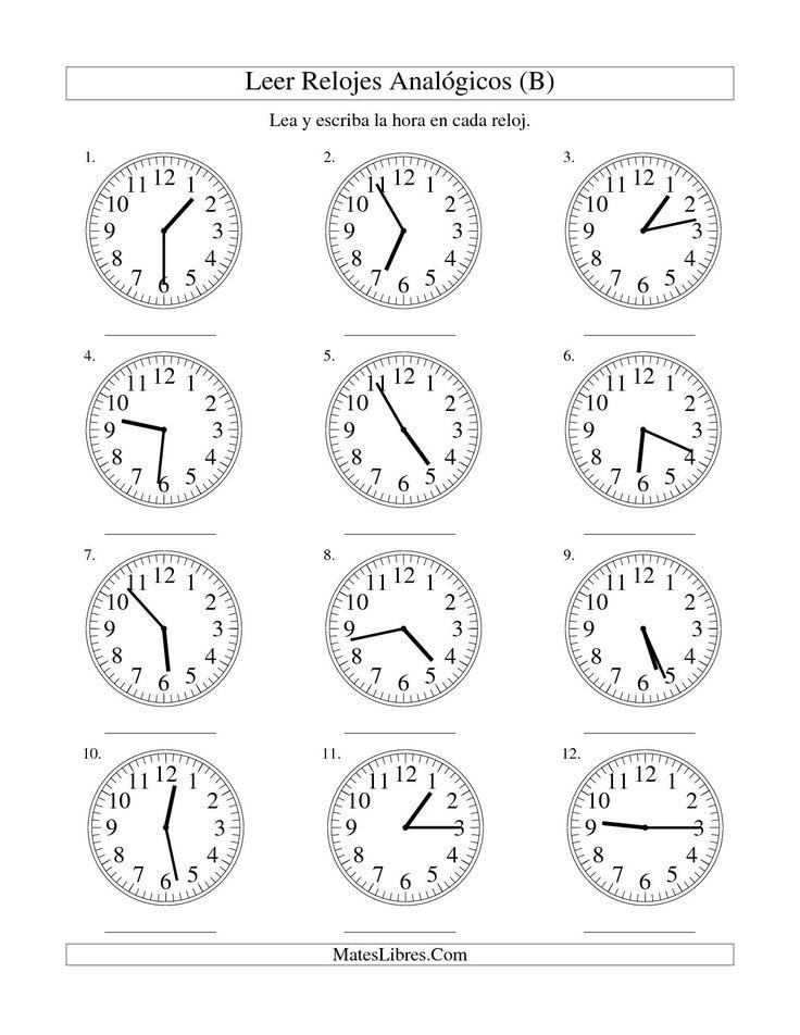 La hoja de ejercicios de matemáticas de Leer la Hora en un Reloj Analógico en Intervalos de 1 Minuto (B) de la página Hojas de Ejercicios de Tiempo en MatesLibres.com.