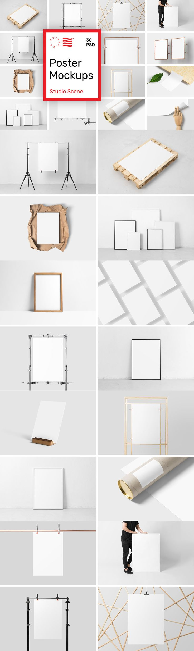 Poster Mockups - Studio Scene - Collection of 30 PSD Poster Mockups that will help you showcase your work i...