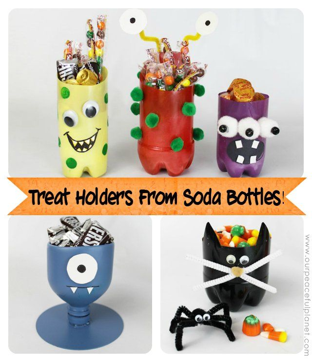 Make some creepy monster treat holders with soda bottles!  These are great for parties, Halloween or just a fun everyday container! Our favorite is the Cyclops.