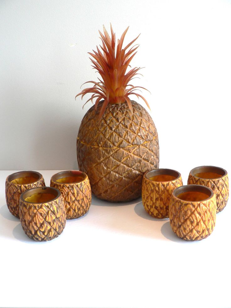 RARE - Evers Pineapple Ice Bucket and Glass Holders - Set of 7 - Tiki Bar - Bar Plastic Pineapple Ice Bucket - Vintage Retro Mid Century Bar by myTreasureNook on Etsy https://www.etsy.com/listing/280167404/rare-evers-pineapple-ice-bucket-and