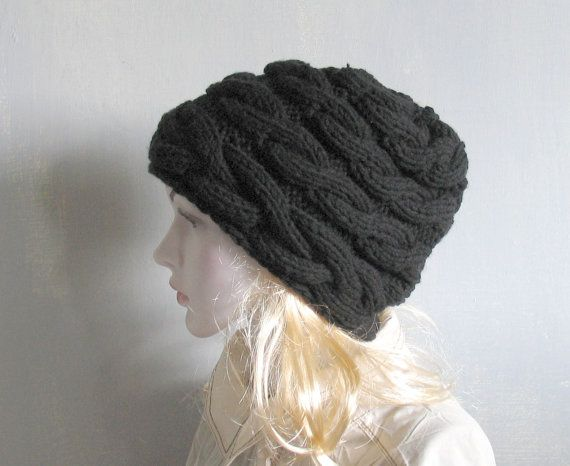 Hand Knit Hat , Slouchy Beanie Womens Hat Slouchy Hat , Oversized Cable Hat Choose Color