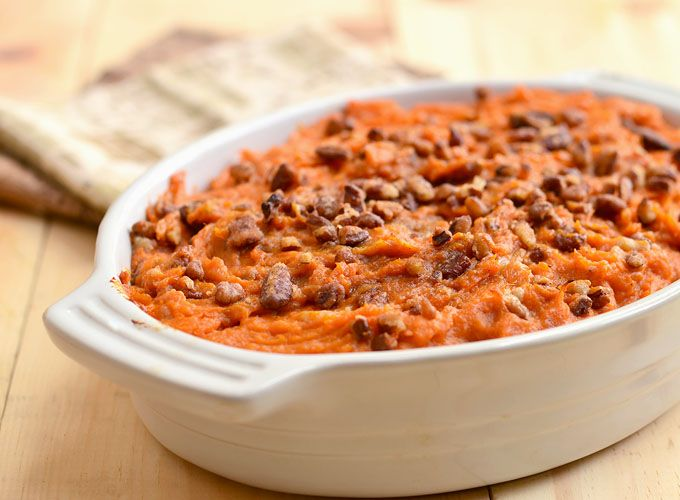 Sweet Potato Casserole with Rum & Pecans