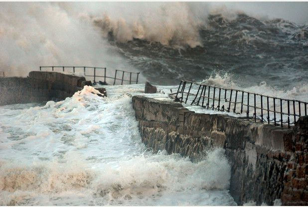 The 18th-century pier at Portreath on Cornwall's north coast minus its 'monkey house' (a small stone hut) which was washed away by the massive Atlantic breakers of Winter Storm Hercules. Picture: Colin Higgs
