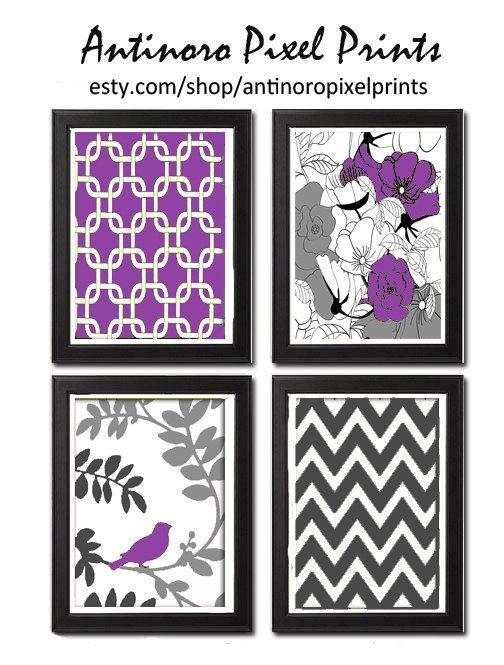 Purple Greys Unframed Vintage Modern Bird by antinoropixelprints, $45.00