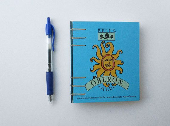 A small journal from Bell's Oberon beer box with a secret Belgian binding