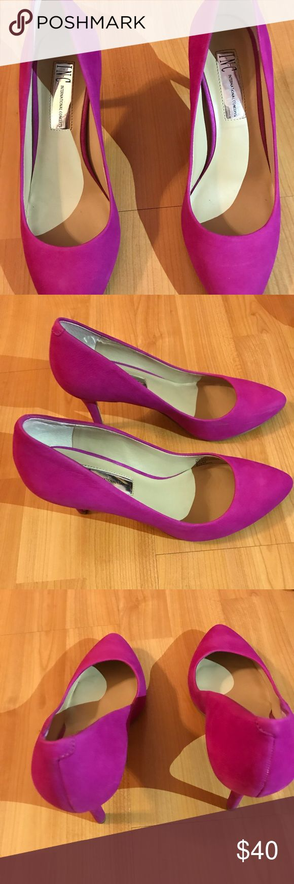 INC Zitah Pointed Toe Pumps, Created for Macy's INC International Concepts Women's Zitah Pointed Toe Pumps, Created for Macy's Size: 6.5 Color:  Deep Fuchsia Suede Worn once but a little tight on me.  I'm more of a size 7. Comes with box. INC International Concepts Shoes