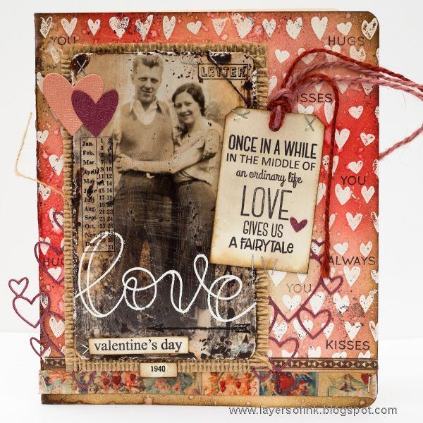 Layers of ink - Watercolor Distress Video Tutorial by Anna-Karin, Valentine's Day Card. The card was made for the Simon Says Stamp Monday Challenge Blog, using SSS exclusive stamps and dies, as well as Tim Holtz idea-ology pieces.