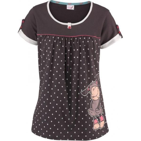 Pyjama Oberteil NICI Kurzarmshirt in Tunikaform Frontdruck Braun GR 44 Neu | eBay