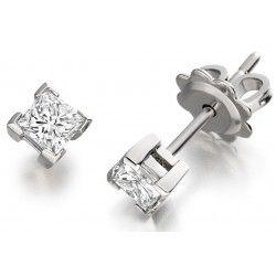 Cercei Tip Stud Aur Alb 18kt cu Diamant Princess - RDE009W