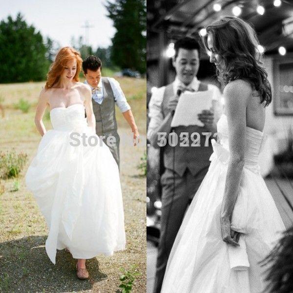 Романтический женской чистый белый пляж свадебные платья 2015 сексуальное милая-образным вырезом свадебное платье свадебные платья noiva эм ренда