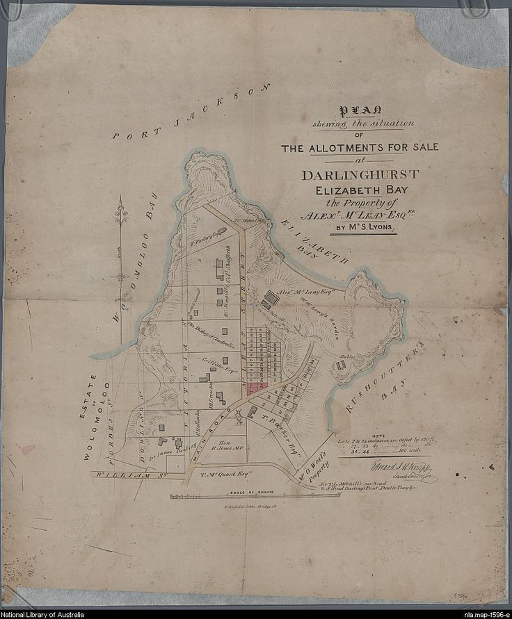 Plan showing the situation of the allotments for sale at Darlinghurst Elizabeth Bay: the property of Alexr Mcleay Esqre 1840s. Copyright National Library of Australia