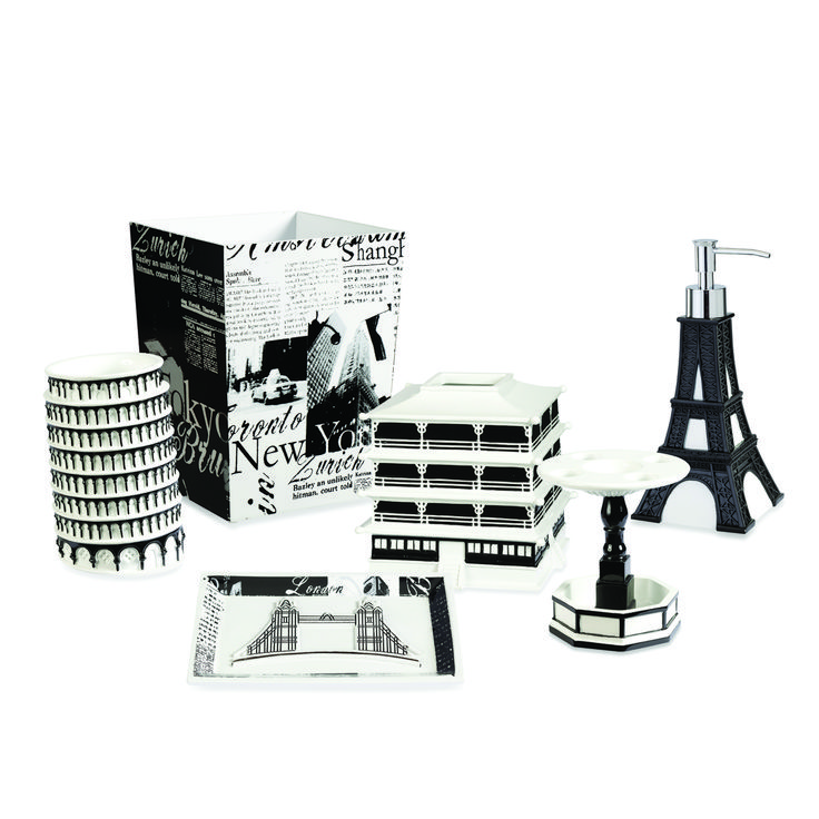 the stylish black and white designs of the passport bath accessories will transport you to your
