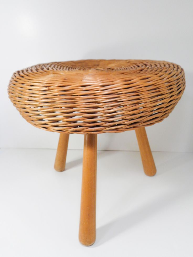 Hans Wegner Rattan Round Foot Stool With Peg Legs (Sold)