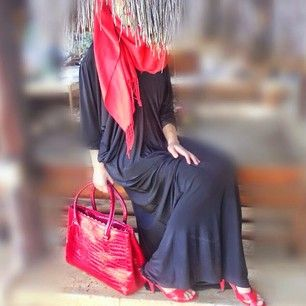 Black abaya with red headscarf, bag and heels. We sell abaya on our site.   http://www.evermodest.com