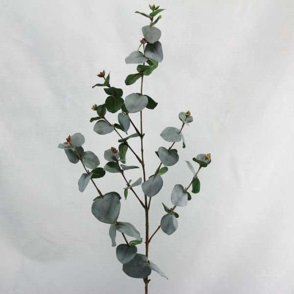 This realistic Eucalyptus Gum Leaf spray is 87cm long and has 7 branches of grey/green round leaves & buds.
