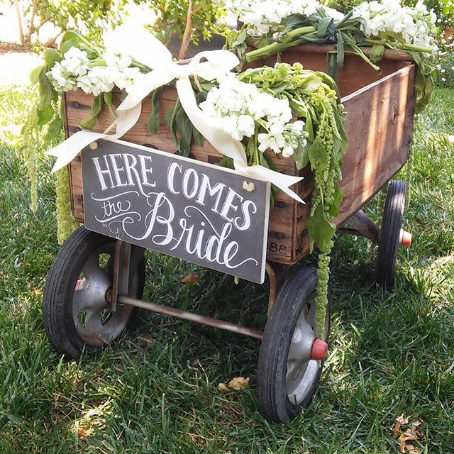 rustic flower girl wagon