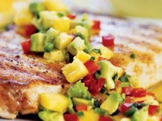 take on fiesta crab cakes with tomatillo california avocado salsa ...