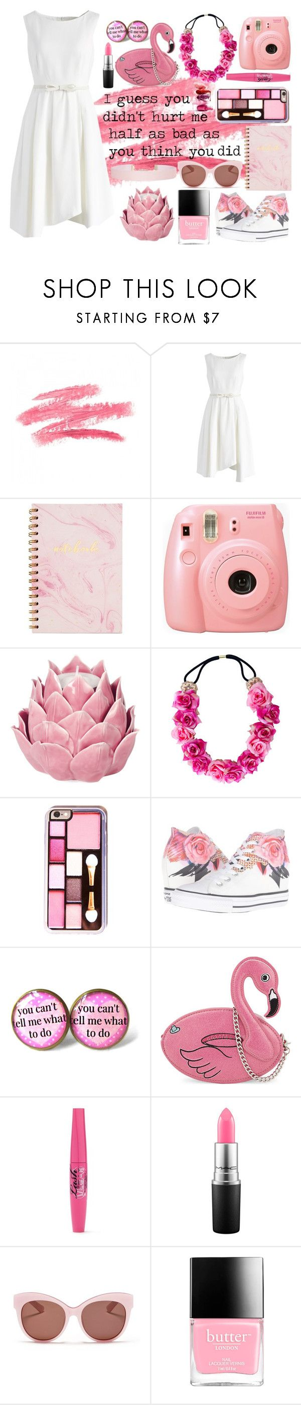 """Untitled #161"" by modest-texan ❤ liked on Polyvore featuring Chicwish, Fujifilm, Zara Home, Converse, Skinnydip, MAC Cosmetics, Blanc & Eclare, Butter London and Humble Chic"