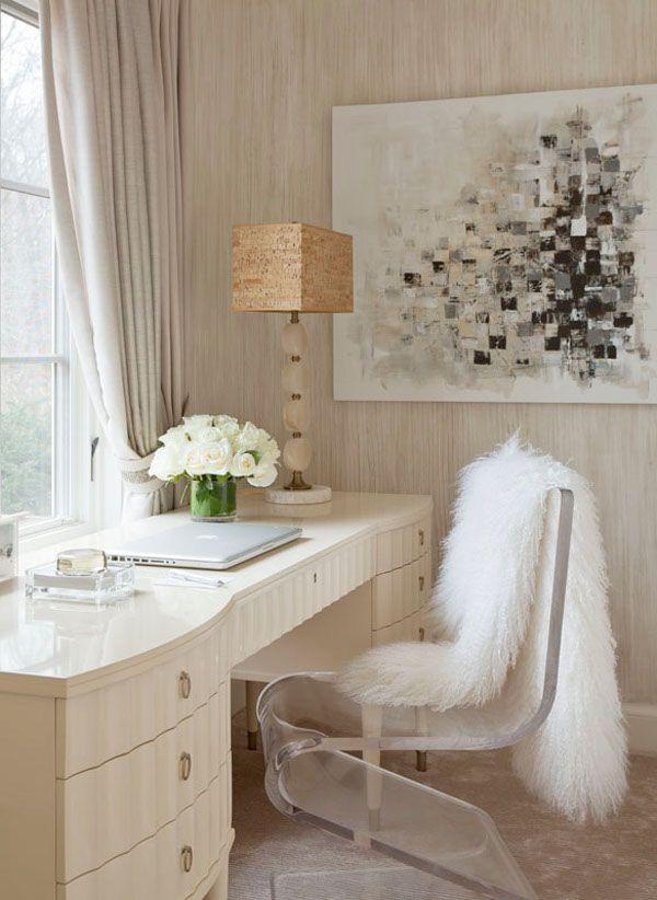 wallpaper + big desk + acrylic chair + bit of fur + edgy abstract art + pretty lamp =  domestic bliss
