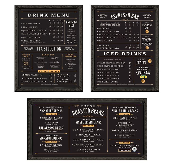 i like the idea of this menu. the layout is very eye catching the fonts on the text change between pages. and the text is big enough for people to read. unlike other menus that make the text smaller in order to just have one page menu.