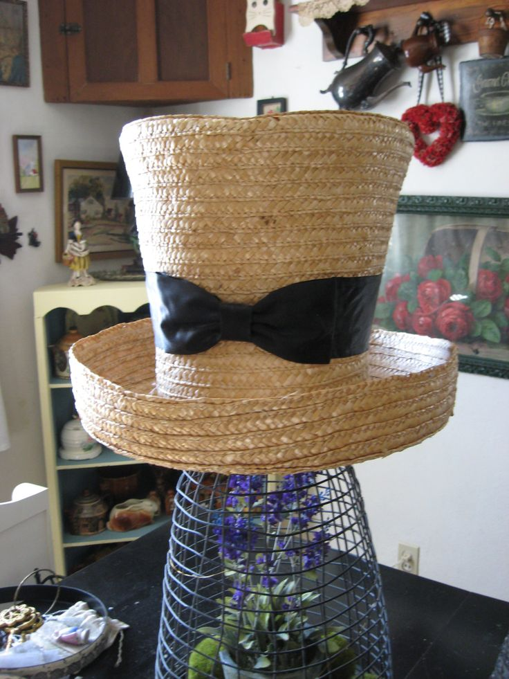Fabulous OVERSIZED extra Large Mad Hatter Straw Hat! Perfect for photography Theater use as a lamp shade! Madi Gras! by GoodCharmVintage on Etsy