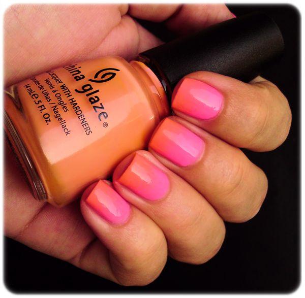 Pink & Orange Gradient Nails