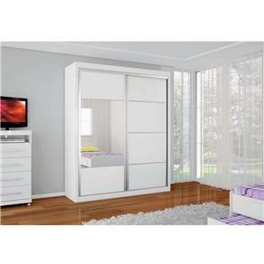 Guarda-Roupa Bartira Ideal com 2 Portas, 4 Gavetas e Espelho – Branco
