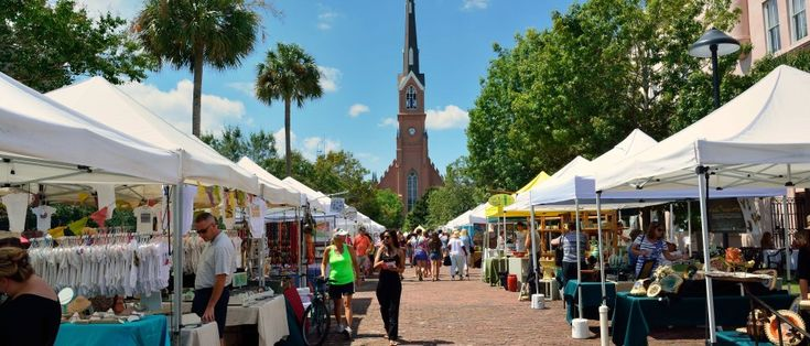 Charleston, SC - At Charleston Farmers' Market, every Saturday, hundreds of regional producers gather at Marion Square to sell fresh fruit, vegetables, and artisanal goods. Pick up the Wild Boar black-truffle cheese from Charleston Artisan Cheesehouse.