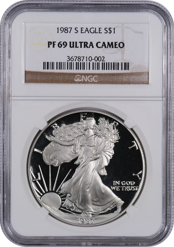 This 1987 S Silver Eagle PF69 UC, is a popular coin for investors ...