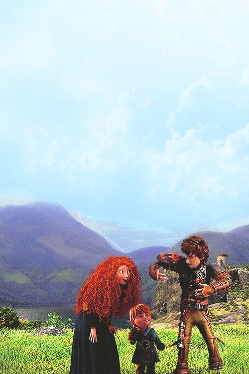 Merida, Hiccup and Justin <3(I don't ship it but can this GET any cuter?!)