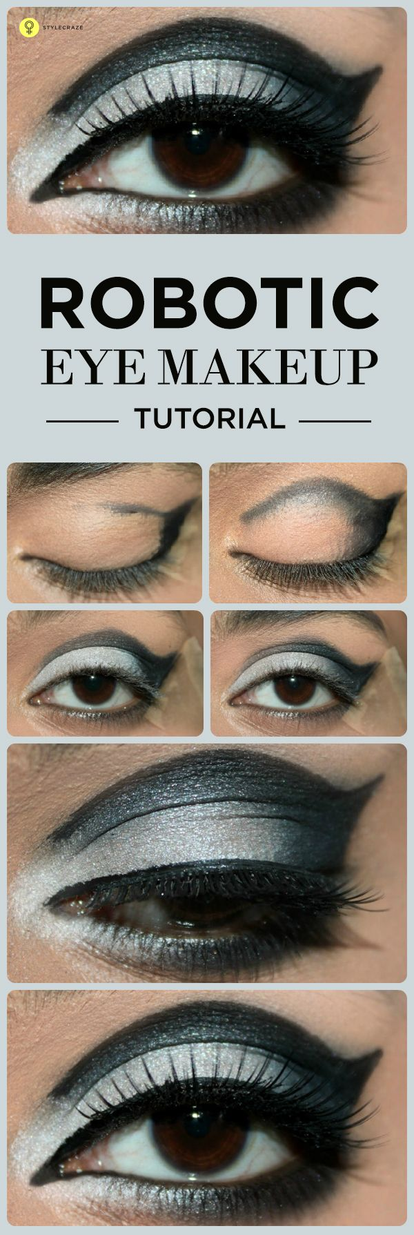 Tired of trying all the eye makeup ideas? Did you ever feel like trying a robotic makeup? Here's a robotic eye makeup tutorial with detailed ...