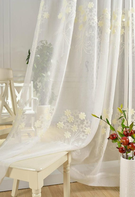 Hundreds Of Little Cream Floral Embroidered On White Sheer Curtain