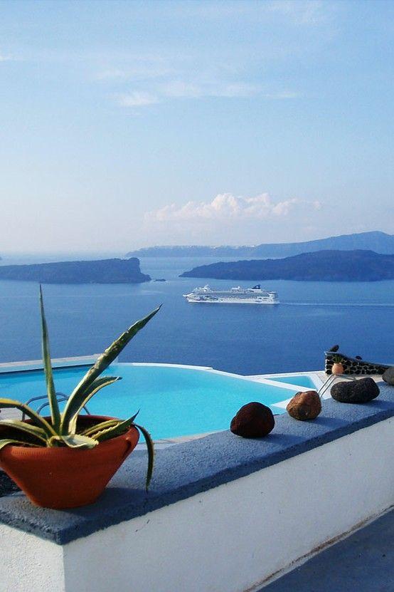 View from Akrotiri, Santorini Greece