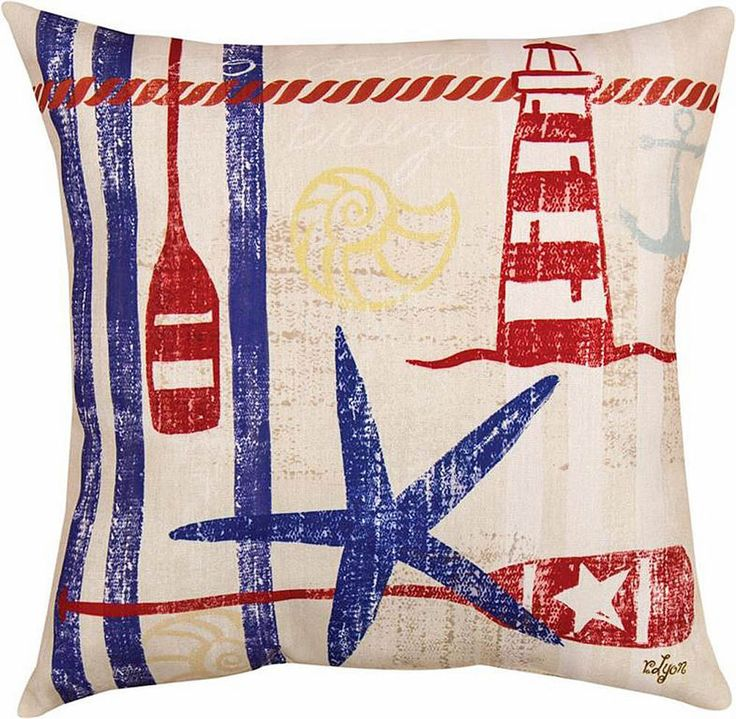 Our decorative indoor outdoor pillow depicting a lighthouse, starfish and oars, makes a wonderful decorative accent for your beach retreat.Made in the USA of polyester fabric that is UV treated in order to be weather proof and resist moisture and fading. | eBay!