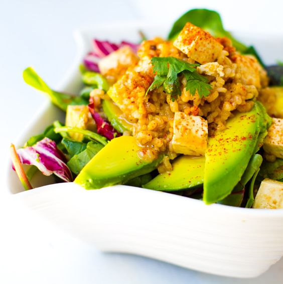 Spicy Peanut Tofu Rice Salad + Twirl of Avocado