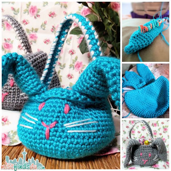 Crochet how to free amigurumi easter bunny basket pattern - Cosas a ganchillo ...