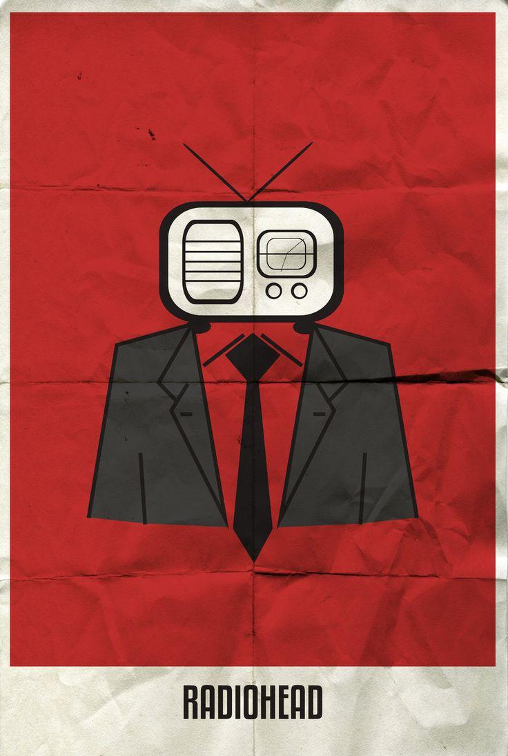 Rock band minimalist poster - Radiohead. #musicart #posterart http://www.pinterest.com/TheHitman14/music-poster-art-%2B/
