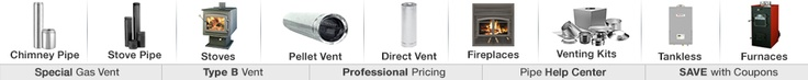 Direct Vent Pipe for Gas Stoves and Furnaces