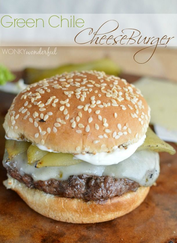 Green Chile Cheeseburger Recipe : A juicy burger grilled to perfection and topped w/ pepper jack cheese and a whole green chile. #SayCheeseburger